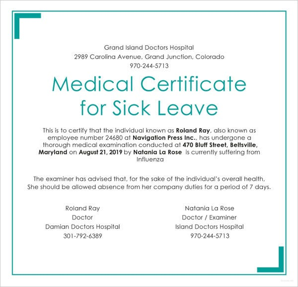 medical certificate for sick leave template in psd