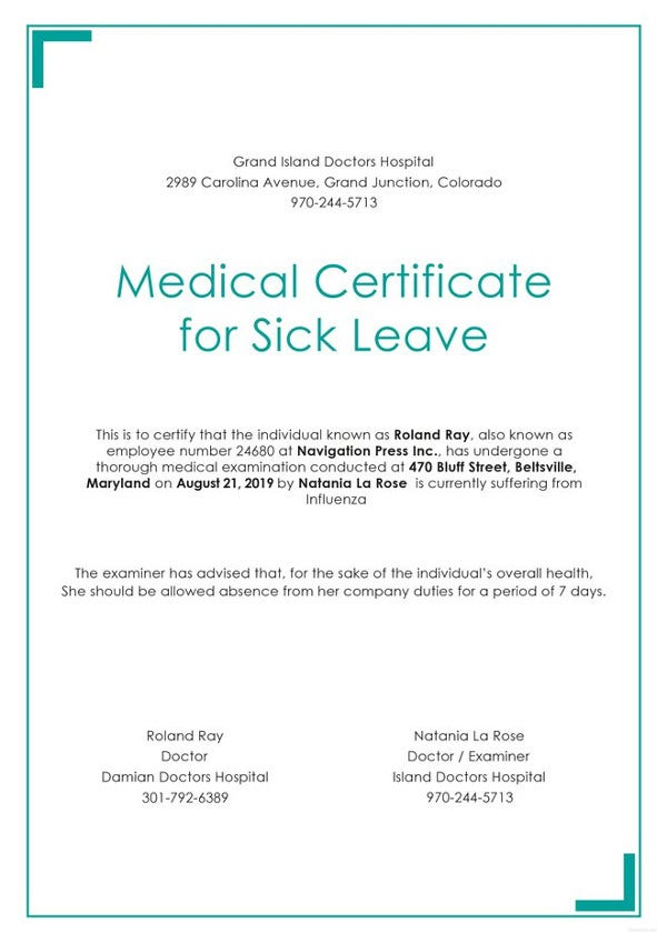 23 medical certificate samples free premium templates for Sick certificate template