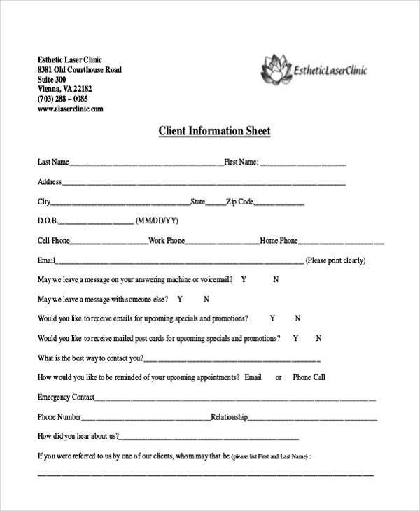 medical client information sheet