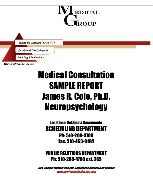medical consultation sample report
