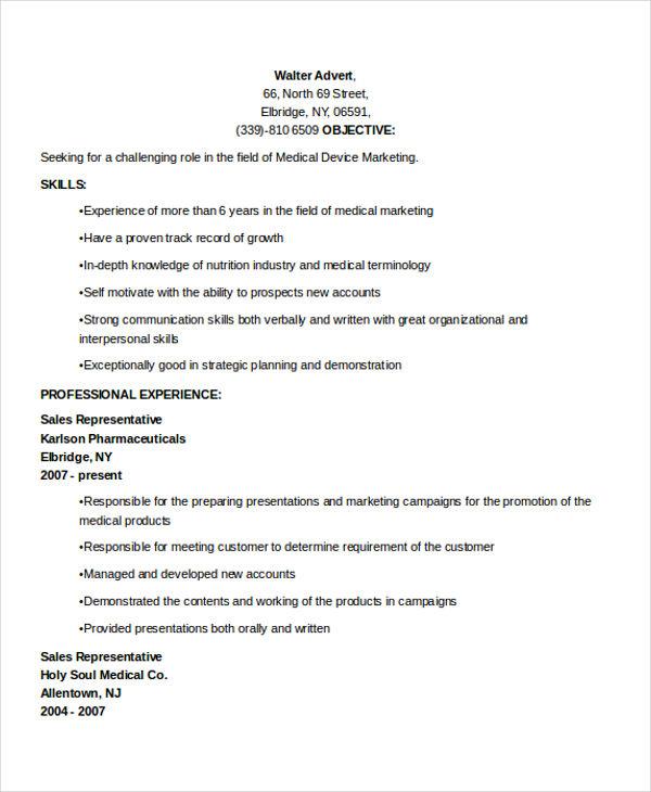 medical device marketing resume