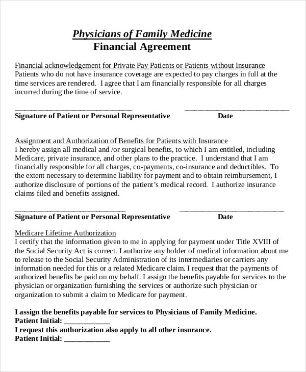 medical financial agreement