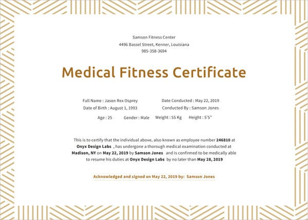 medical fitness certificate template in ms word