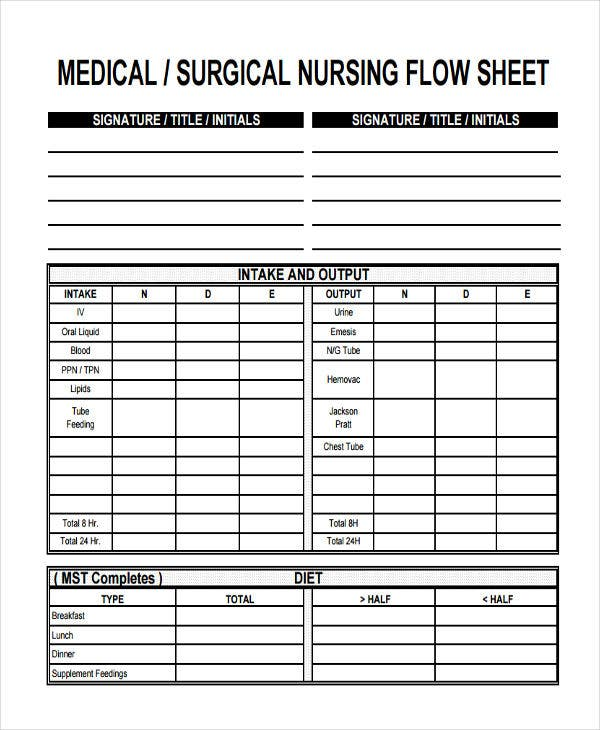medical flow sheet