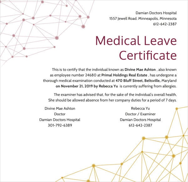 medical leave certificate template in illustrator