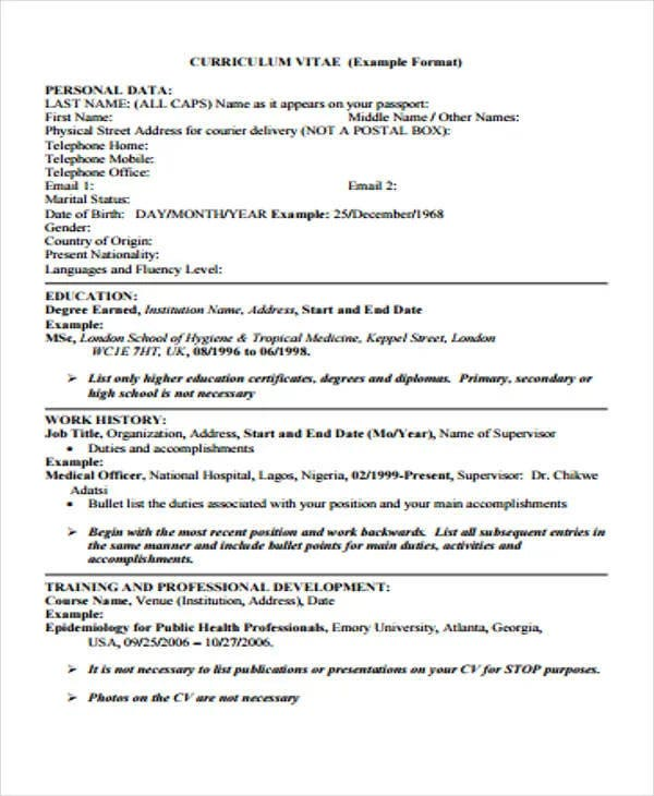 medical officer curriculum vitae