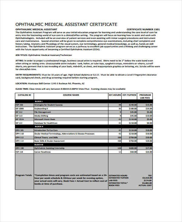 medical ophthalmic certificate