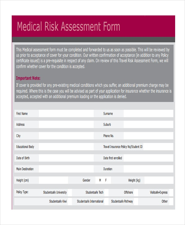 medical risk assessment
