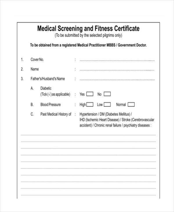medical screening fitness