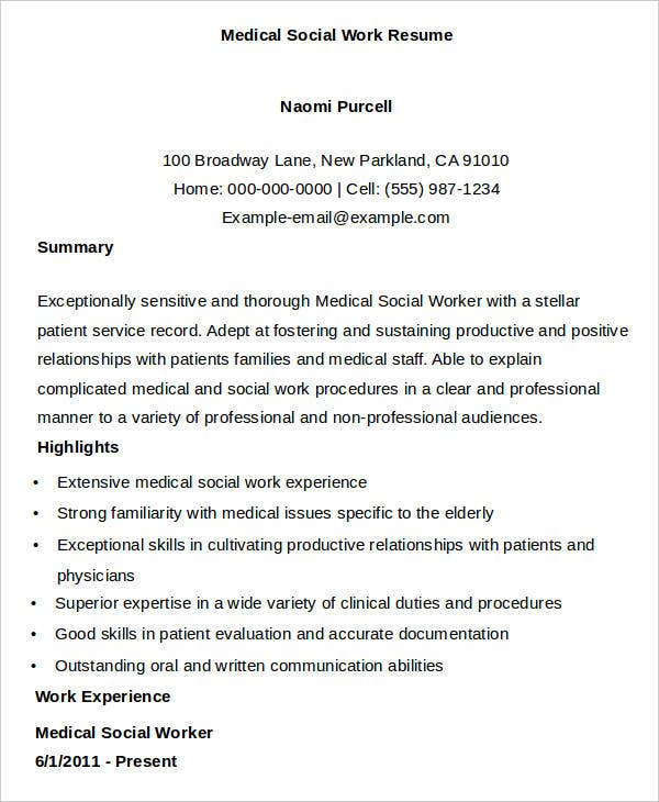 Medical Social Work. Medical Social Work Resume  Medical Social Worker Resume