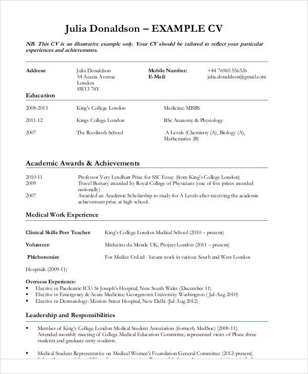 medical work experience resume