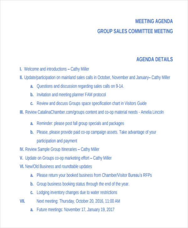 meeting agenda for sales committee