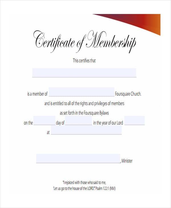membership certificate example1
