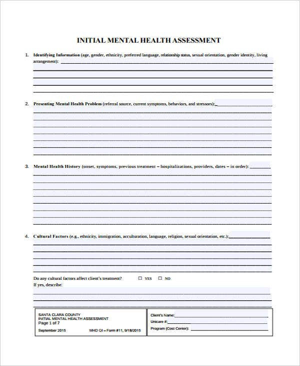 Initial Mental Health Assessment. Sccgov.org