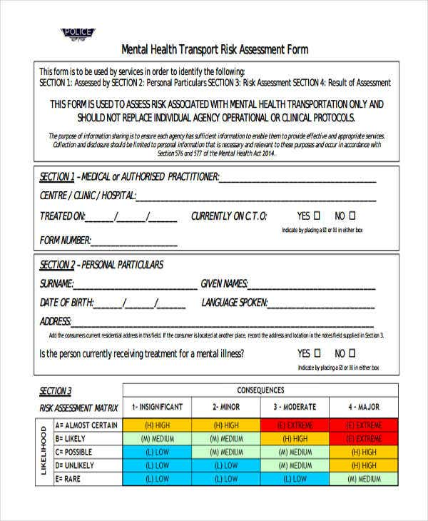 mental health risk assessment form