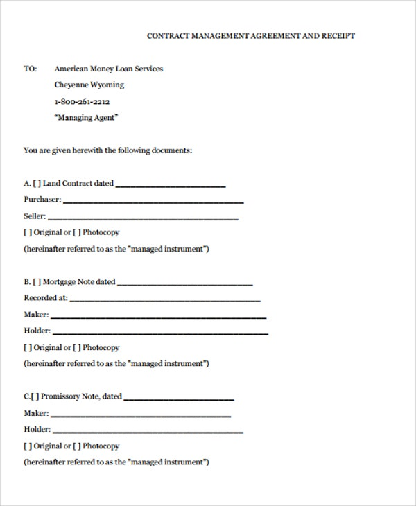 money loan contract agreement form