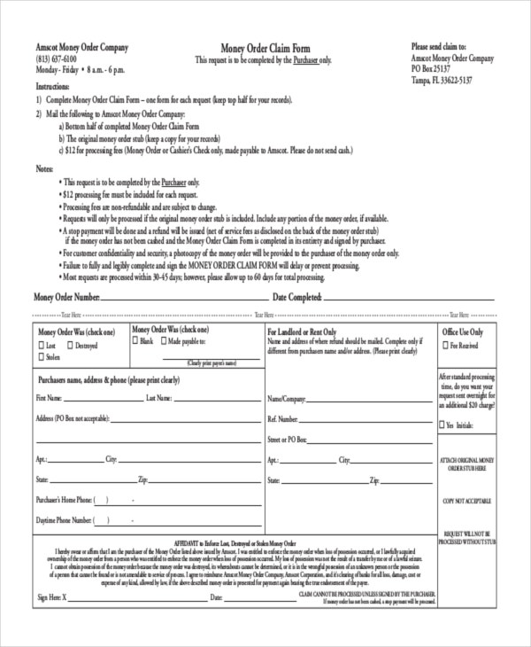 8+ Money Order Forms - Free Samples, Examples Format Download