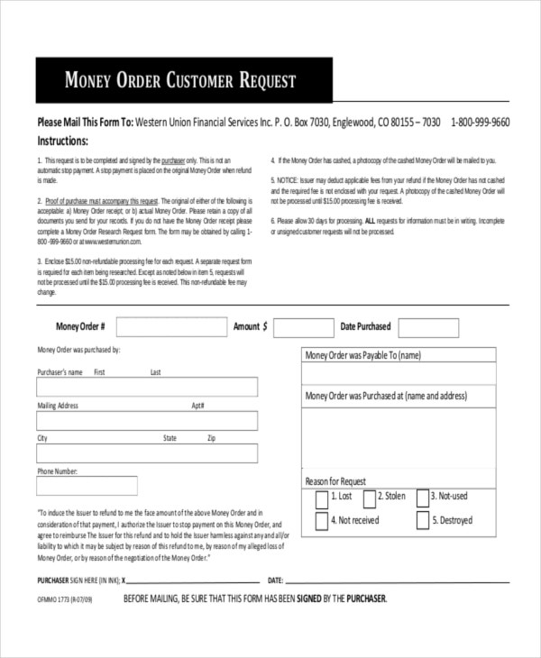 money order form  9+ Money Order Forms - Free Samples, Examples Format ...