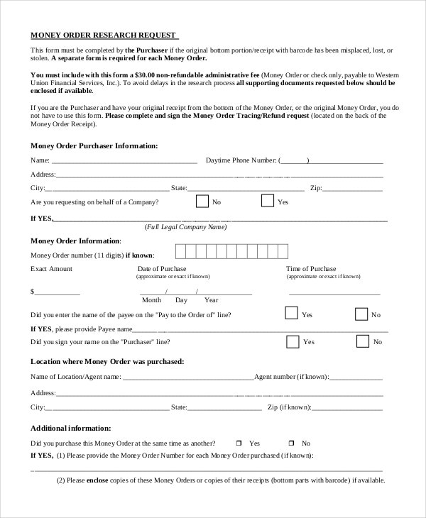 8+ Money Order Forms - Free Samples, Examples Format Download ...