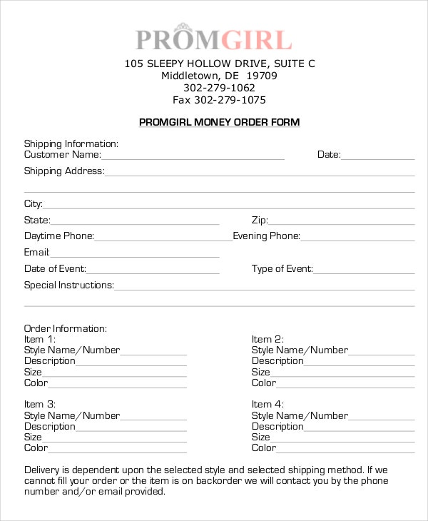 money order in pdf
