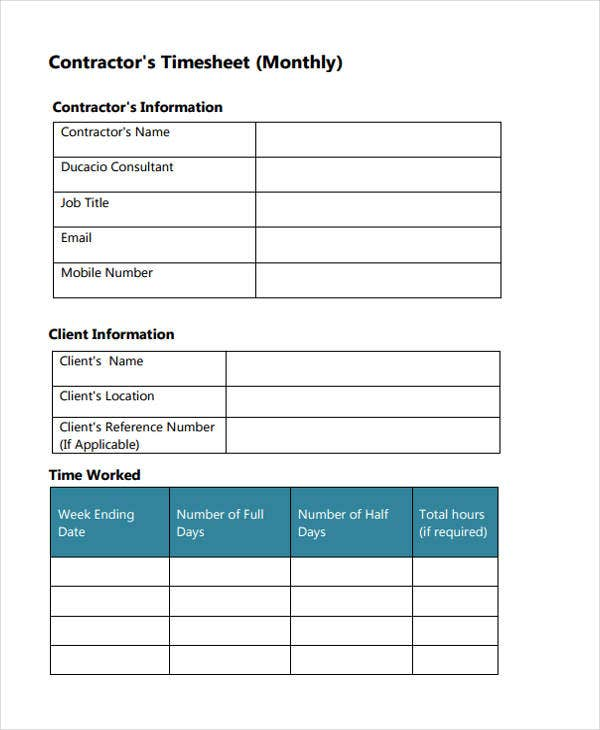 monthly contractor timesheet