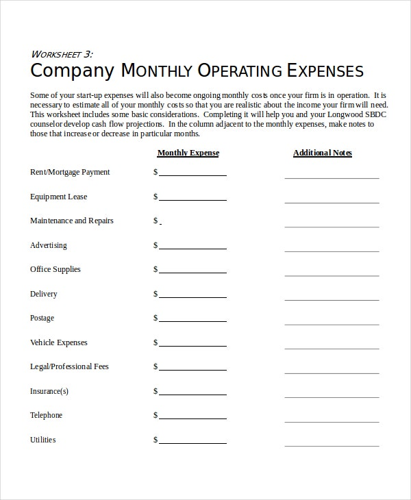 monthly expense sheet for company