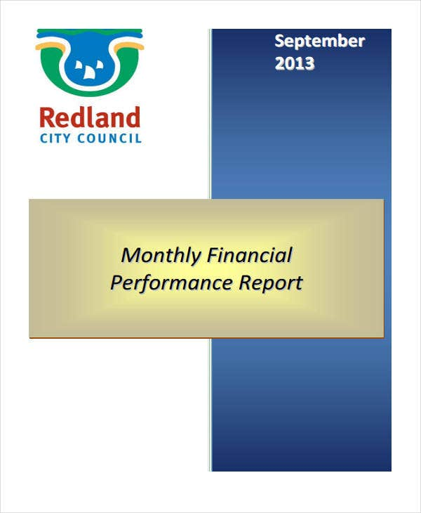 monthly financial performance report