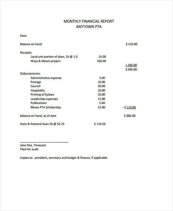 monthly financial report for sample