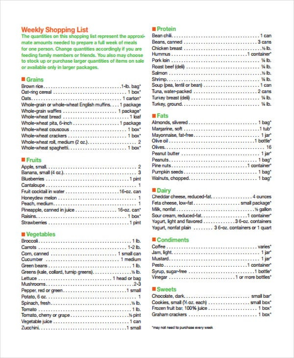 grocery shopping list templates 9 free word pdf format download