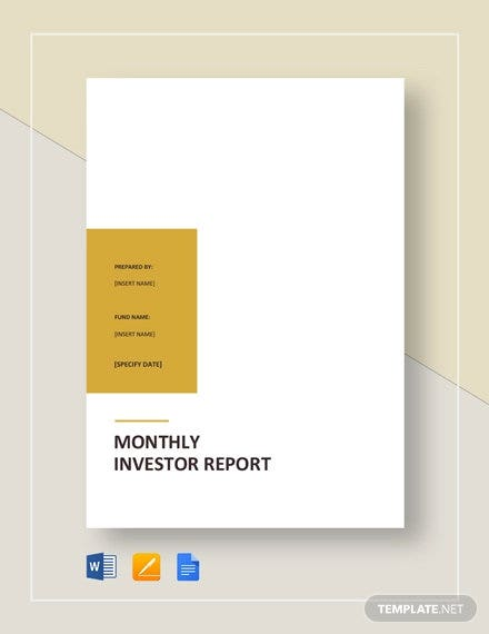 monthly investor report template