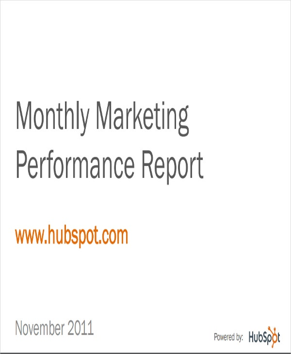 monthly marketing performance report