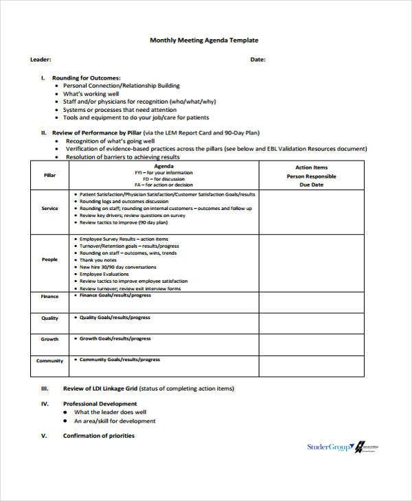 monthly meeting agenda template