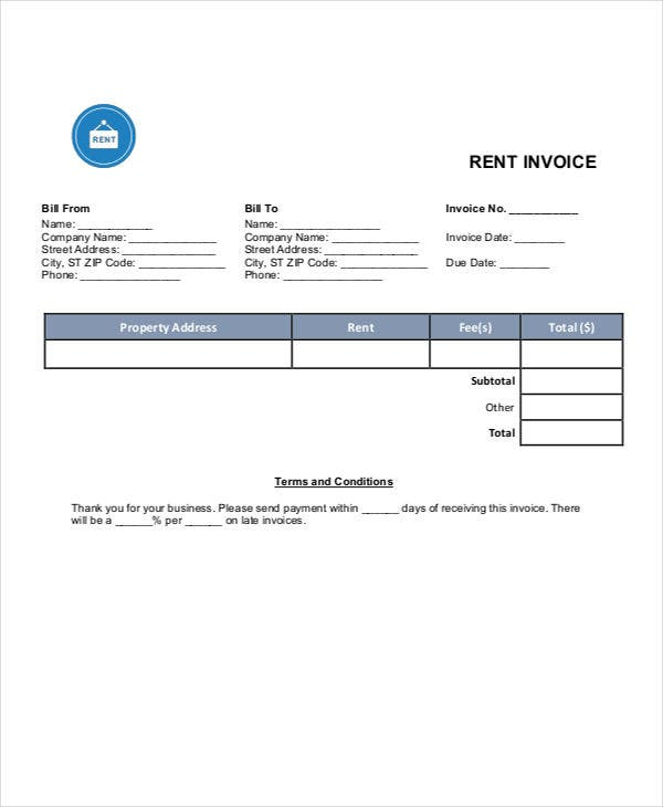 Rent Invoice Templates - 8 Free Samples, Examples Format Download