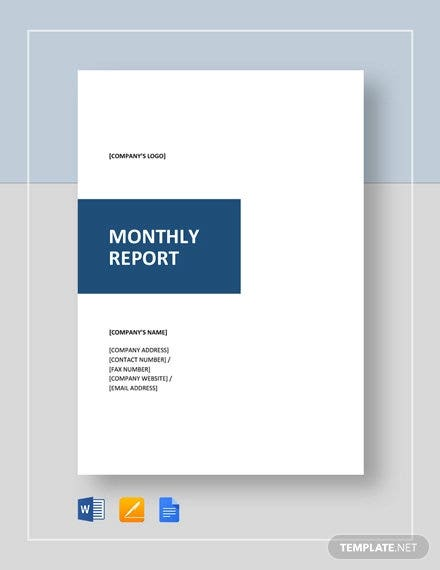 monthly report template1