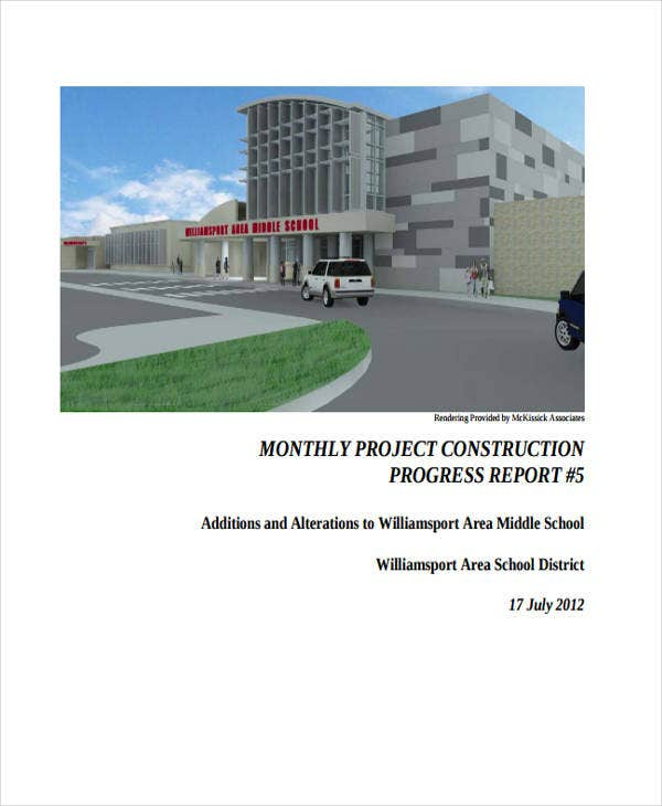 monthly report for construction project