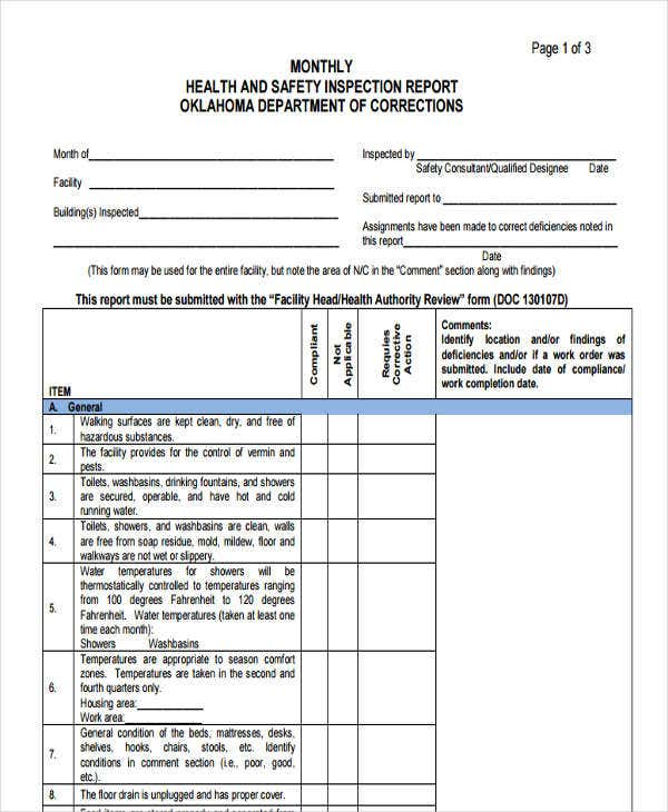 facilities management report template monthly health and safety report template 28 images