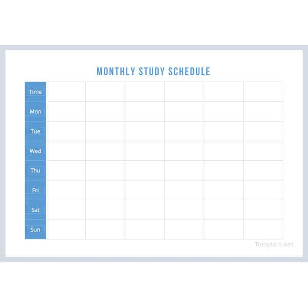 monthly study schedule template