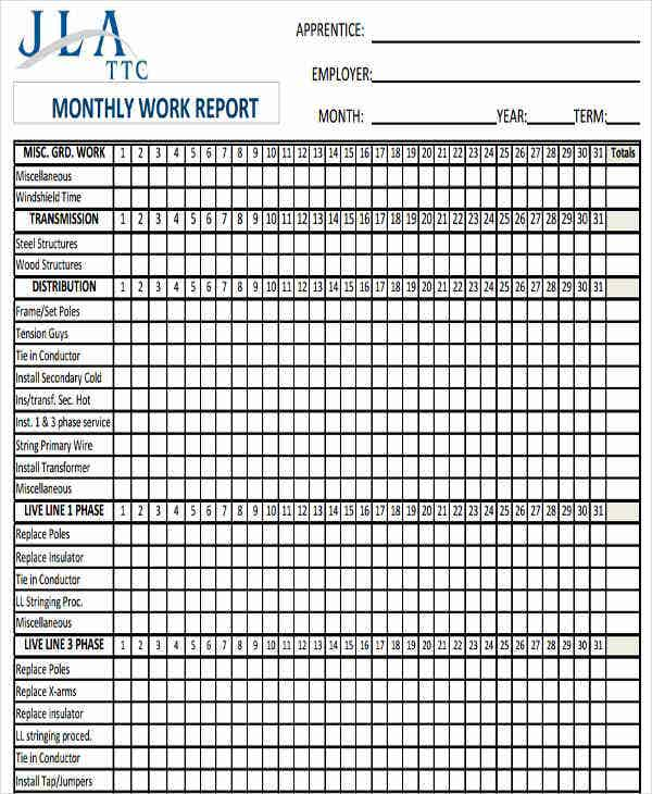 monthly work report sample