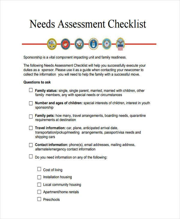 needs assessment checklist