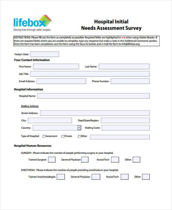 needs assessment survey form