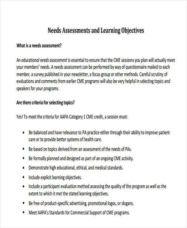needs assessment for formal learning
