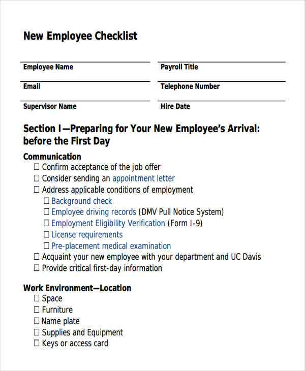 Employee checklist templates 9 free samples examples for New job documents required
