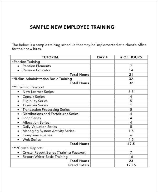5 employee training plan templates free samples for Safety training calendar template