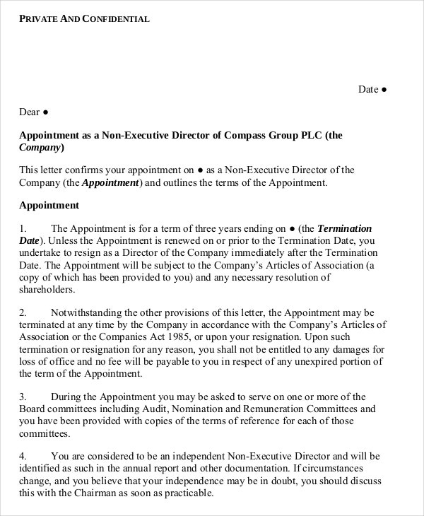 non executive director standard appointment letter