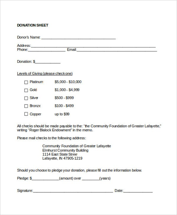 non profit donation sheet