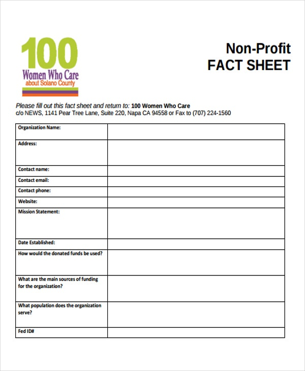 non profit fact sheet2