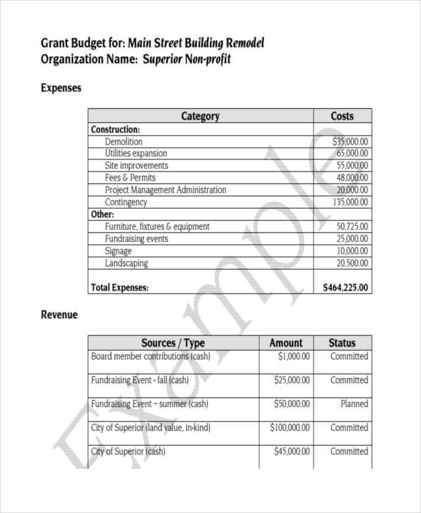 non profit grant budget