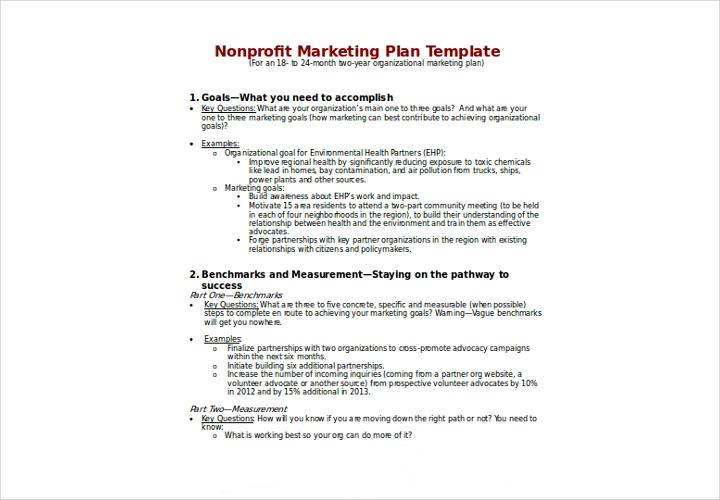 non profit marketing plan template