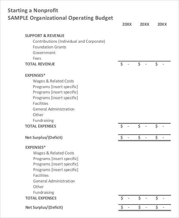 Non Profit Budget Template  Free Sample Example Format Download