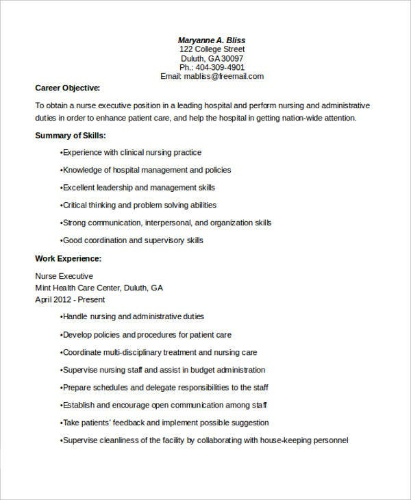 nurse executive resume in pdf